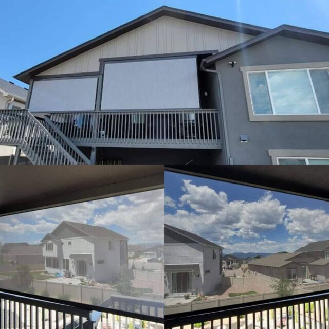 Ready to upgrade your outdoor living space? Keep the view, cut the sun and wind with a powerful and sleek exterior roller shade from CS Custom Blinds!  #Colorado #ColoradoSprings #CSCustomBlinds #Blinds #Shutters #Shades #Home #HomeDecor #HomeImprovement #LocallyOwned #WindowCoverings #SmallBusiness #InteriorDesign #Realtor #Staging #NewHouse